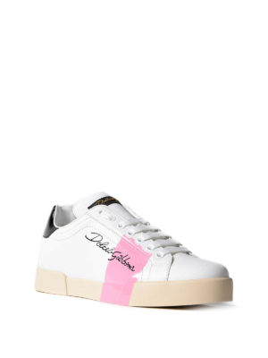 Dolce & Gabbana: trainers online - Pink detail leather sneakers