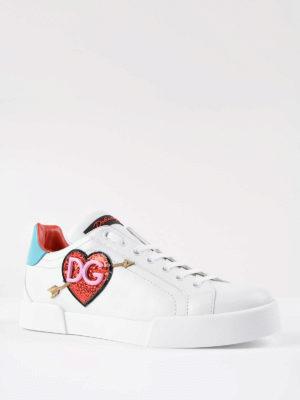 Dolce & Gabbana: trainers online - Portofino glittered logo sneakers