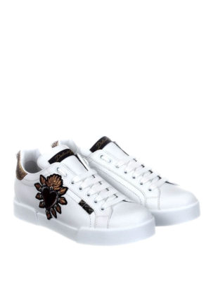 Dolce & Gabbana: trainers online - Portofino sneakers with heart patch