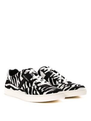 Dolce & Gabbana: trainers online - Zebra print canvas sneakers