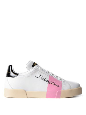 Dolce & Gabbana: trainers - Pink detail leather sneakers