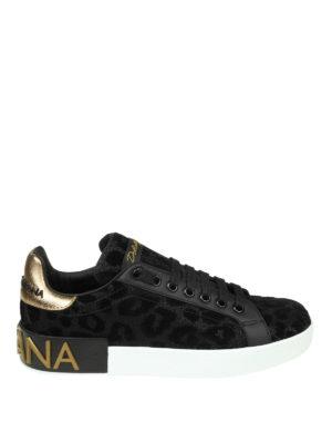 DOLCE & GABBANA: sneakers - Sneaker Portofino in tessuto con lurex nero
