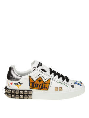 DOLCE & GABBANA: sneakers - Sneaker Portofino in pelle con ricami