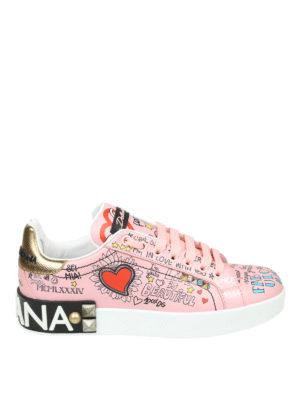DOLCE & GABBANA: sneakers - Sneaker Portofino rosa in vitello stampato