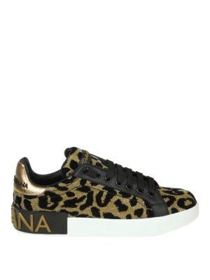 DOLCE & GABBANA: sneakers - Sneaker Portofino in tessuto effetto lurex