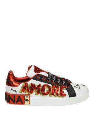 DOLCE & GABBANA: sneakers - Sneaker Portofino in pelle con applicazioni
