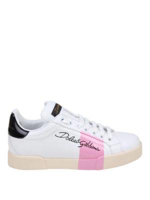 DOLCE & GABBANA: sneakers - Sneaker Portofino con banda rosa
