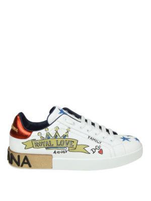 DOLCE & GABBANA: sneakers - Sneaker Portofino in vitello nappato stampato