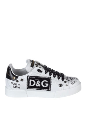 Dolce & Gabbana: trainers - Portofino studs detailed sneakers