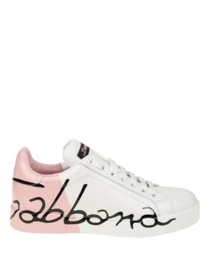 DOLCE & GABBANA: sneakers - Sneaker Portofino bianche e rosa