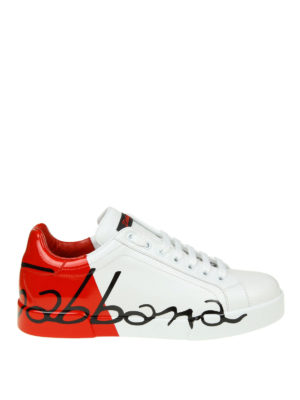 DOLCE & GABBANA: sneakers - Sneaker Portofino bianche e rosse