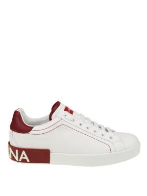 DOLCE & GABBANA: sneakers - Sneaker Portofino in nappa bianche e rosse