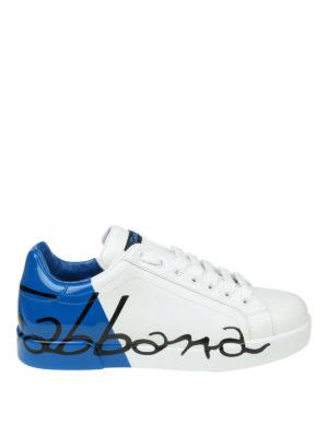 DOLCE & GABBANA: sneakers - Sneaker Portofino bianche e azzurre