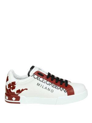 DOLCE & GABBANA: sneakers - Sneaker Portofino in pelle bianche e rosse