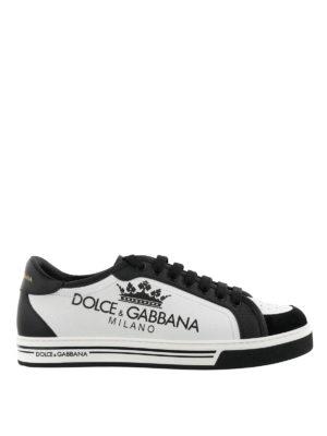 DOLCE   GABBANA  sneakers - Sneaker Roma in pelle con punta in camoscio 477b11d722f