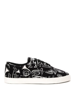 Dolce & Gabbana: trainers - Trumpets print canvas sneakers