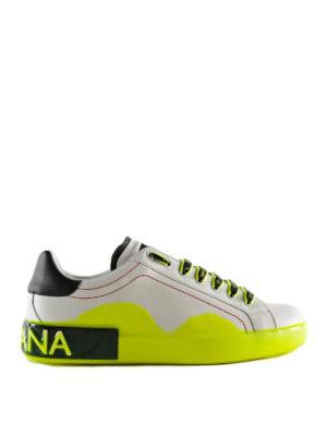 DOLCE   GABBANA  sneakers - Sneaker bianca e fluo in pelle 9e5886c2c0a