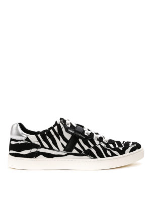 Dolce & Gabbana: trainers - Zebra print canvas sneakers