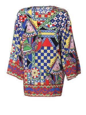DOLCE & GABBANA: tuniche - Blusa in seta stretch stampata