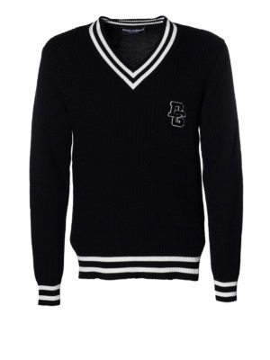 Dolce & Gabbana: v necks - Court style cotton V-neck sweater