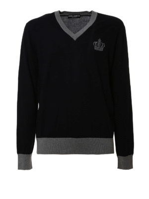 Dolce & Gabbana: v necks - Crown embroidery V-neck sweater