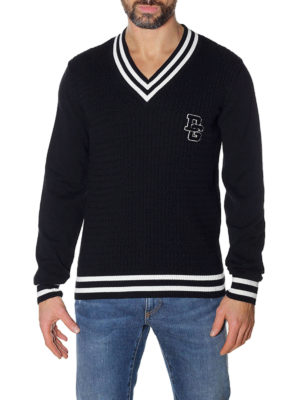 Dolce & Gabbana: v necks online - Court style cotton V-neck sweater