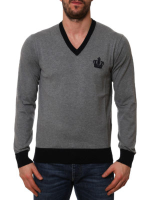 Dolce & Gabbana: v necks online - Crown embroidery V-neck sweater