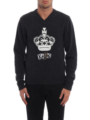 Dolce & Gabbana: v necks online - Wool intarsia embroidered sweater