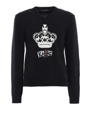 Dolce & Gabbana: v necks - Wool intarsia embroidered sweater