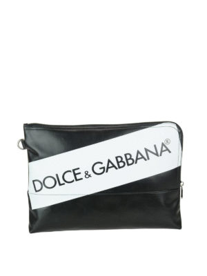 Dolce & Gabbana: wallets & purses - Black and white logo print pouch