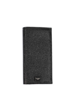 Dolce & Gabbana: wallets & purses - Black dauphine leather wallet