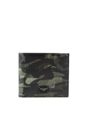 DOLCE & GABBANA: portafogli - Portafoglio in pelle stampata Camou Green