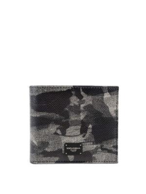 DOLCE & GABBANA: portafogli - Portafoglio in pelle stampata Camou Grey