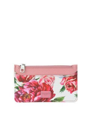 DOLCE & GABBANA: portafogli - Portacarte stampa floreale con zip