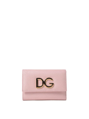 Dolce & Gabbana: wallets & purses - French flap pink leather wallet