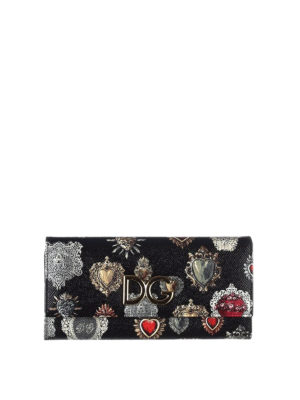 Dolce & Gabbana: wallets & purses - Heart print Dauphine leather wallet