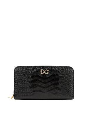 DOLCE & GABBANA: portafogli - Portafoglio stampa iguana con logo gioiello