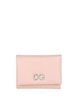 DOLCE & GABBANA: portafogli - Portafoglio rosa pallido con logo gioiello