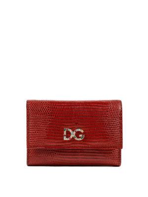 DOLCE & GABBANA: portafogli - Portafoglio stampa iguana logo gioiello