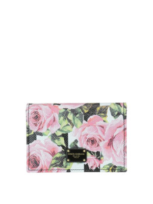 Dolce & Gabbana: wallets & purses - Leather wallet with rose print