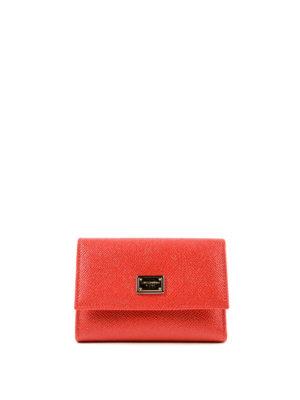 DOLCE & GABBANA: portafogli - Portafoglio rosso pattina e logo