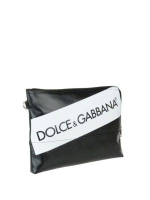 Dolce & Gabbana: wallets & purses online - Black and white logo print pouch