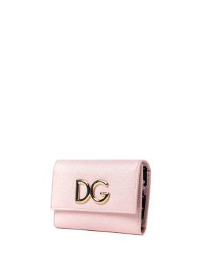 Dolce & Gabbana: wallets & purses online - French flap pink leather wallet