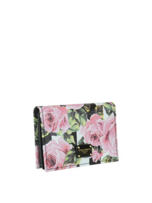 Dolce & Gabbana: wallets & purses online - Leather wallet with rose print