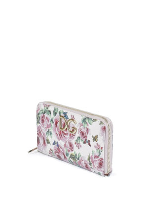 Dolce & Gabbana: wallets & purses online - Rose print Dauphine leather wallet