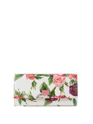 DOLCE & GABBANA: portafogli - Portafoglio in pelle stampa peonie