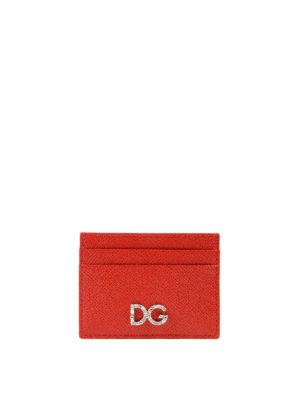 DOLCE & GABBANA: portafogli - Portacarte in pelle rossa Dauphine