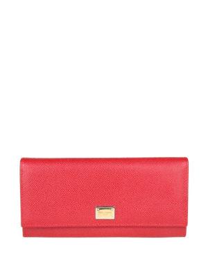 DOLCE & GABBANA: portafogli - Portafoglio continental pelle Dauphine rossa