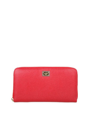 DOLCE & GABBANA: portafogli - Portafoglio con zip in pelle Dauphine rossa