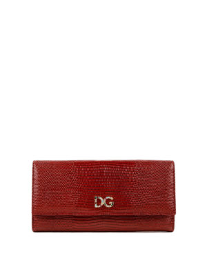 DOLCE & GABBANA: portafogli - Portafoglio in pelle stampa iguana rossa